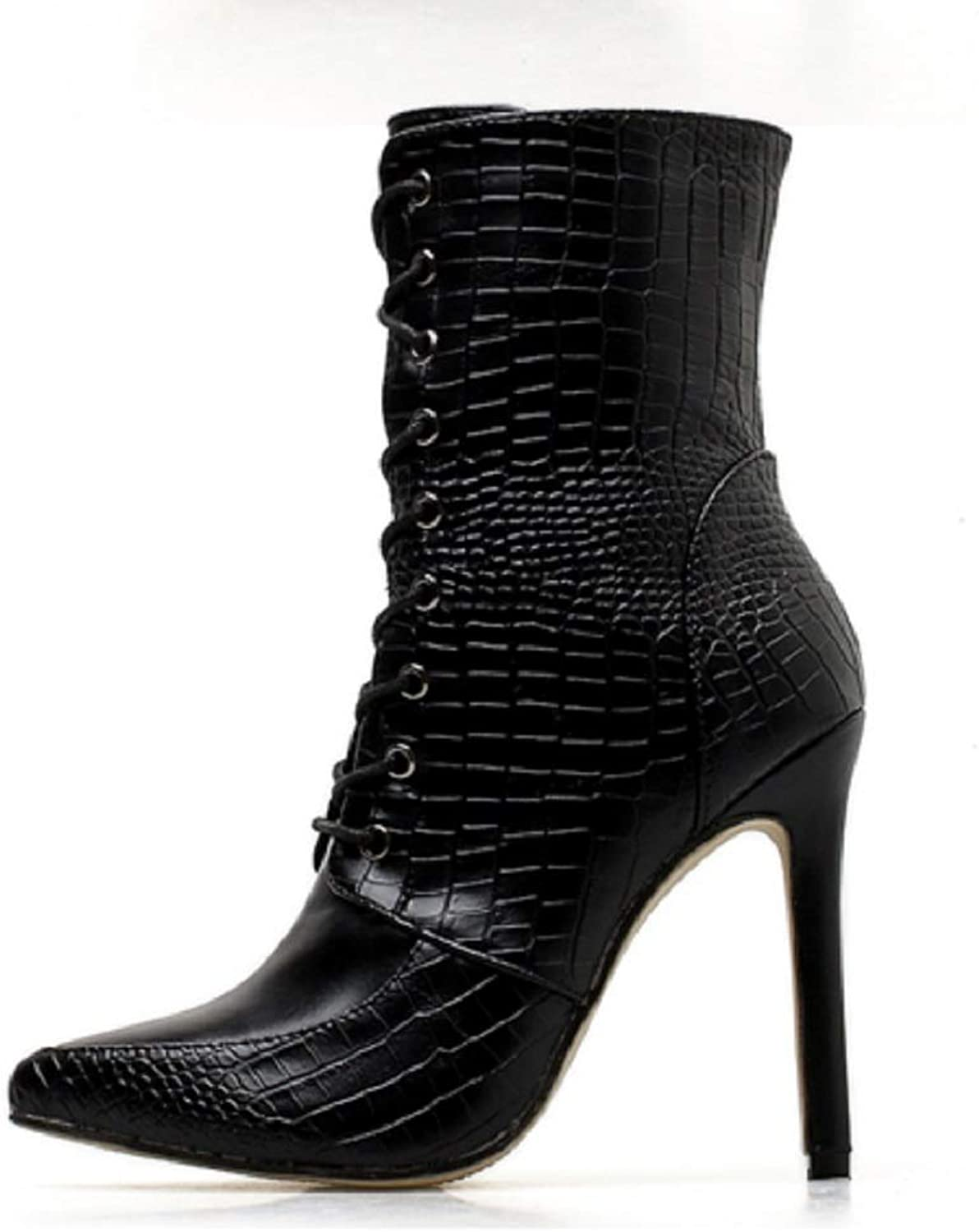 Ladies Women Sexy Thigh HIGH Heels Ankle Boots Calf Biker Boots Erpentine Lace-up Women's Boots with Stiletto High Heel Martin Short Boots