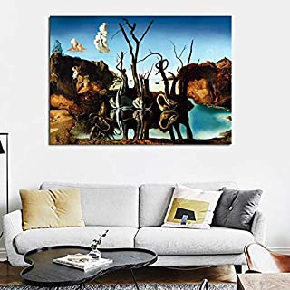 Sin marcoCanvas Art Salvador Dali ng Swans Reflecting Elephants Wall Pictures For Living Room Home Decor Printed60x90cm
