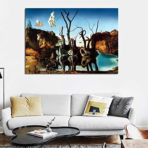 No frame Canvas Art Salvador Dali schilderij zwanen reflecterende olifanten muur foto's voor woonkamer Home Decor afgedrukt 40x60cm
