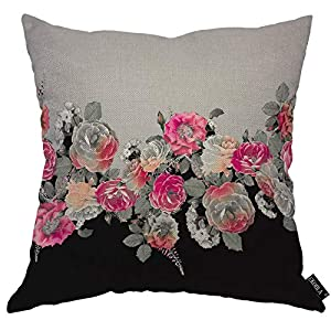 EKOBLA Rose Throw Pillow Cover Vintage Floral Tropical Exotic Leaf on Gray Black Summer Plant Cozy Square Cushion Case…