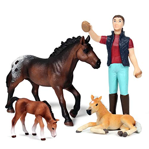 Animal Keeper with Farm Animals Figurines Simulated Farm Realistic Plastic Farmer Feeder Animals Figurines for Collection Educational Props (Feeder and Horse  Set of 4)