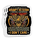 I'm A Grumpy Old Army Veteran Proud to Be Veteran Grandpa Gift Decorations - 4x3 Vinyl Stickers, Laptop Decal, Water Bottle Sticker (Set of 3)