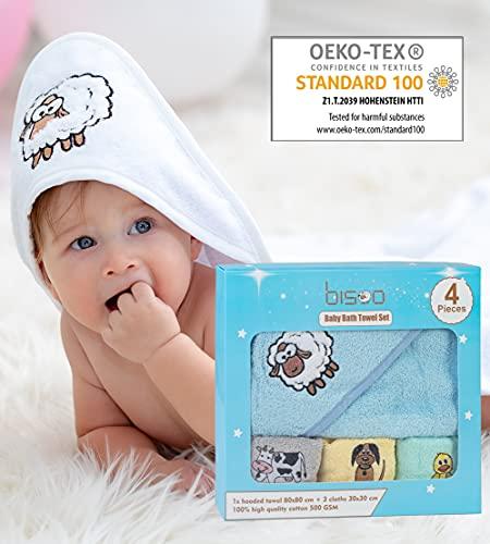 Bisoo Toalla Bebé Niño con Capucha - Set de Baño 4 Piezas con Capa de Baño 80x80cm y 3 Paños 30x30cm - 100% Algodón Turco 500 GSM Oeko-Tex - Regalo Original Recién Nacido Embarazada Baby Shower (Azul)