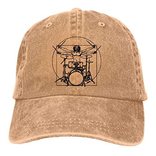 TUCBOA Gelegenheits Hut,Atmungsaktiv Sonne Hüte,Straße Hut,Stretchkappe,Da Vinci Drums Unisex Denim Baseball Cap Mit Verstellbarem Schnallenverschluss