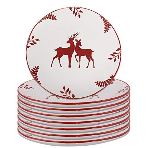Set of 8 White Stag Dishwasher Microwave Safe Dinner Plates - D28cm