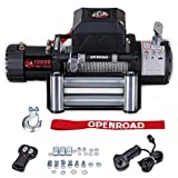 OPENROAD 13000 lb Winch with Steel Cable,Electric Recovery Winch Kit, 12V 500A Winch Control Box,Wireless Remote Control Winch for Jeep,Truck and SUV