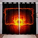 Sports Basketball Curtains Slam Dunk Basketball Fire Curtains for Bedroom 3D Ball Pattern Windows Drapes - Thermal Insulated Room Curtains for Living Room, 2 Window Curtain Panels