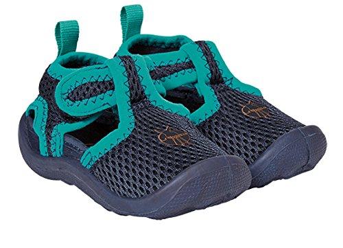 LÄSSIG Baby Kinder Badeschuhe Strandschuhe Schwimmschuhe Atmungsaktiv Anti-Rutsch Sohle Klettverschluss/Beach Sandals, Navy, Schuhgröße: 18, blau