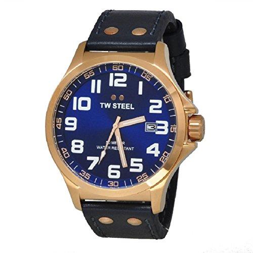 TW Steel TW405 - Reloj analógico de Cuarzo Unisex, Correa de Cuero Color Azul
