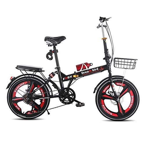 WLGQ Bicicleta Plegable Freno de Disco de Cambio Absorción de Golpes Bicicleta Plegable Bicicleta para Mujer Bicicleta de Rueda de 6 velocidades y 20 Pulgadas (Color: Negro, Tamaño: 150 * 30 * 10
