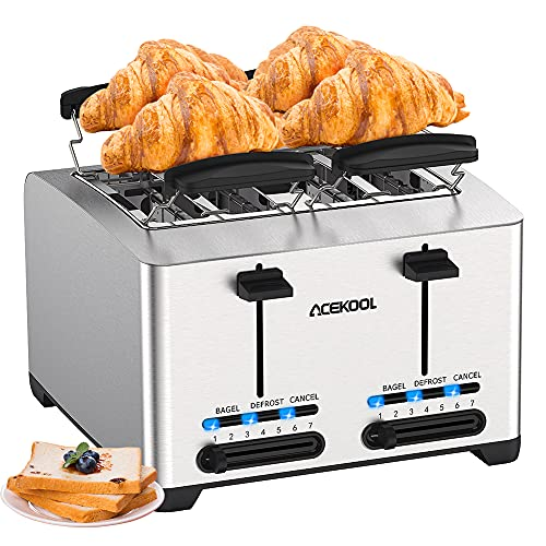 Toaster 4 Slice, Extra-Wide Toaster Bread Toasting Slot Compact Stainless Steel Toaster for Bread Waffle Bagel, 7 Toast Shade Settings 3 Function with Crumb Trays and 2 High Lift Lever 1500W