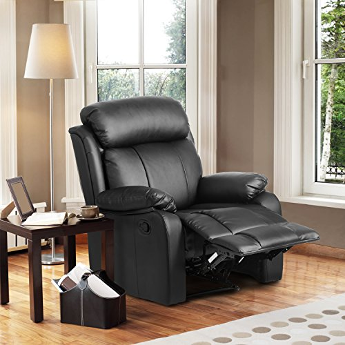 Leisure Zone Cambridge Luxury Sofa Recliner PU Black Leather Sofa Suite Lounge Couch Set Armchair Different Configurations Available for Home Lounge Living Room Sofa (1 Seater-Black)