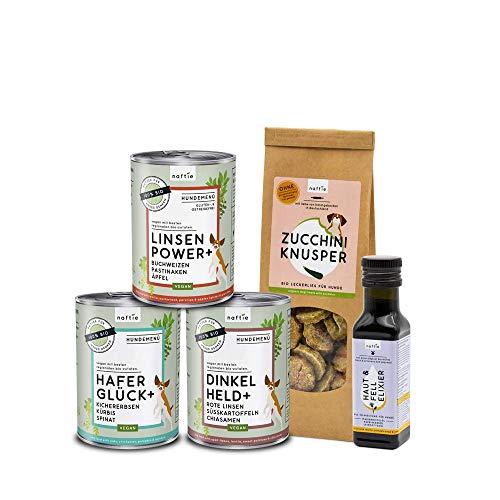 naftie veganes Hundefutter Bio Schnupperbox | Hundenassfutter Plus Bio-Öl und vegane Hundeleckerli | für Hunde mit einem Herz für Tiere