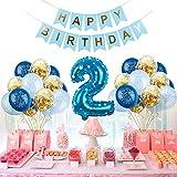 Globo decorativo para cumpleaños de niños de 2 años, 2 años de cumpleaños, decoración para niños, globos de fiesta de cumpleaños, globos azules, set de helio
