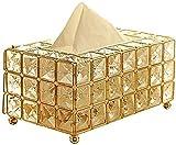 Lagaga - Contenitore per fazzoletti di cristallo per cosmetici, rettangolare, decorativo, per casa, ufficio, bagno, hotel (oro)