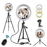 Ringlicht Mit Stativ, 12'/ 30cm Ringlicht, 3 Beleuchtungsmodi und 10 Einstellbarer Helligkeit,Desktop-Ständer,Bluetooth-Empfänger für YouTube Vine Self-Porträt der Videoaufnahme