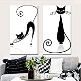 Xinbo Culture Communication Co., Ltd Wall Art Canvas Modular Pictures Animal Abstract Painting Cat Mordern Posters and Prints Nordic Home Decoration for Living Room (12x20inchx2pcs)
