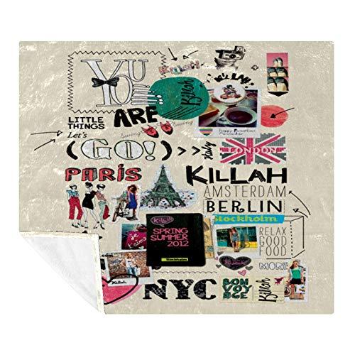 CHINFY Travelling Elements Paris London - Manta de forro polar de franela, súper suave, cálida, manta de felpa y mantas, ligera y acogedora para sofá cama (59 x 78 pulgadas)