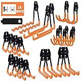 AOBEN Garage Hooks,Heavy Duty Garage Hanger Organizer Anti-Slip Double Wall Garage Storage Hooks for Ladder, Power Tool,Bike,Ropes 24Pack(23 hooks & 1 hoder strap)-Orange