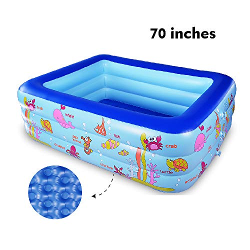 WateBom Inflatable Family Swimming Center Pool with Inflatable Soft Floor, 70 inches Ocean World Kids Swimming Pool