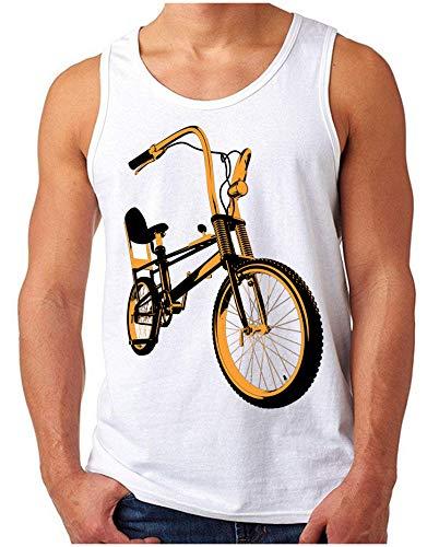 OM3® - Bonanza-II - Tank Top | Herren | Vintage Kult Fahrrad 50 Jahre Jubiläum Bicycle | Weiß, L