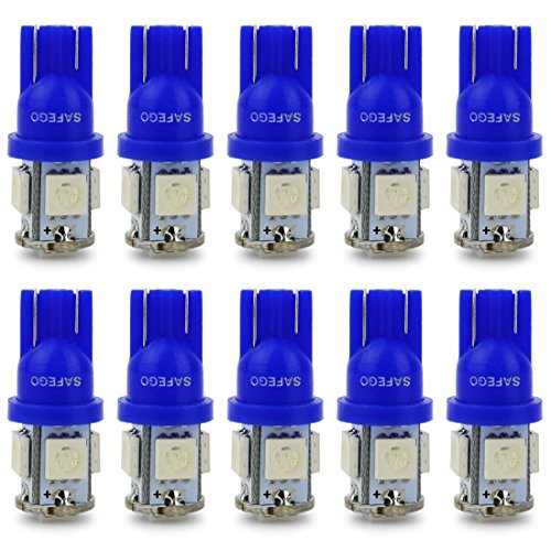 Safego 10x T10 W5W azul LED Bombillas exteriores 5 SMD 5050 Luz Coche trasera Lámpara Luz de interior 194 168 T10 Wedge Lampara para Coches luces de la matrícula luces laterales 12V