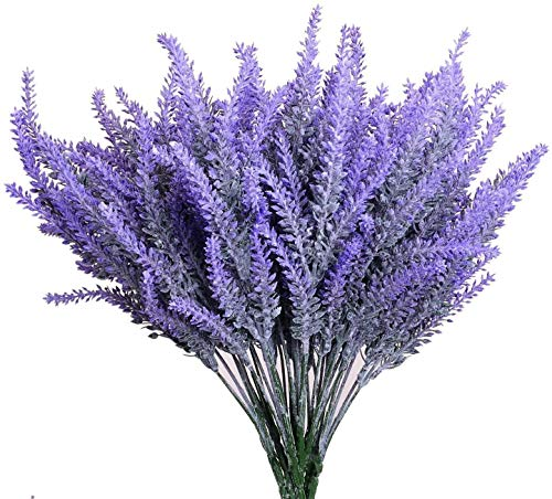 4 paquetes de flores de lavanda artificial hermoso arreglo de flores púrpuras planta falsa, plantas...