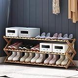 HGDD Rack de Almacenamiento de Zapatos a Prueba de polv con Patas de bambú Zapatero  Nivel 3  Madera  Armarios y Puerta de Entrada  Organizador  Se Adapta a 15 Pares de Zapatos Estante de Zapatos
