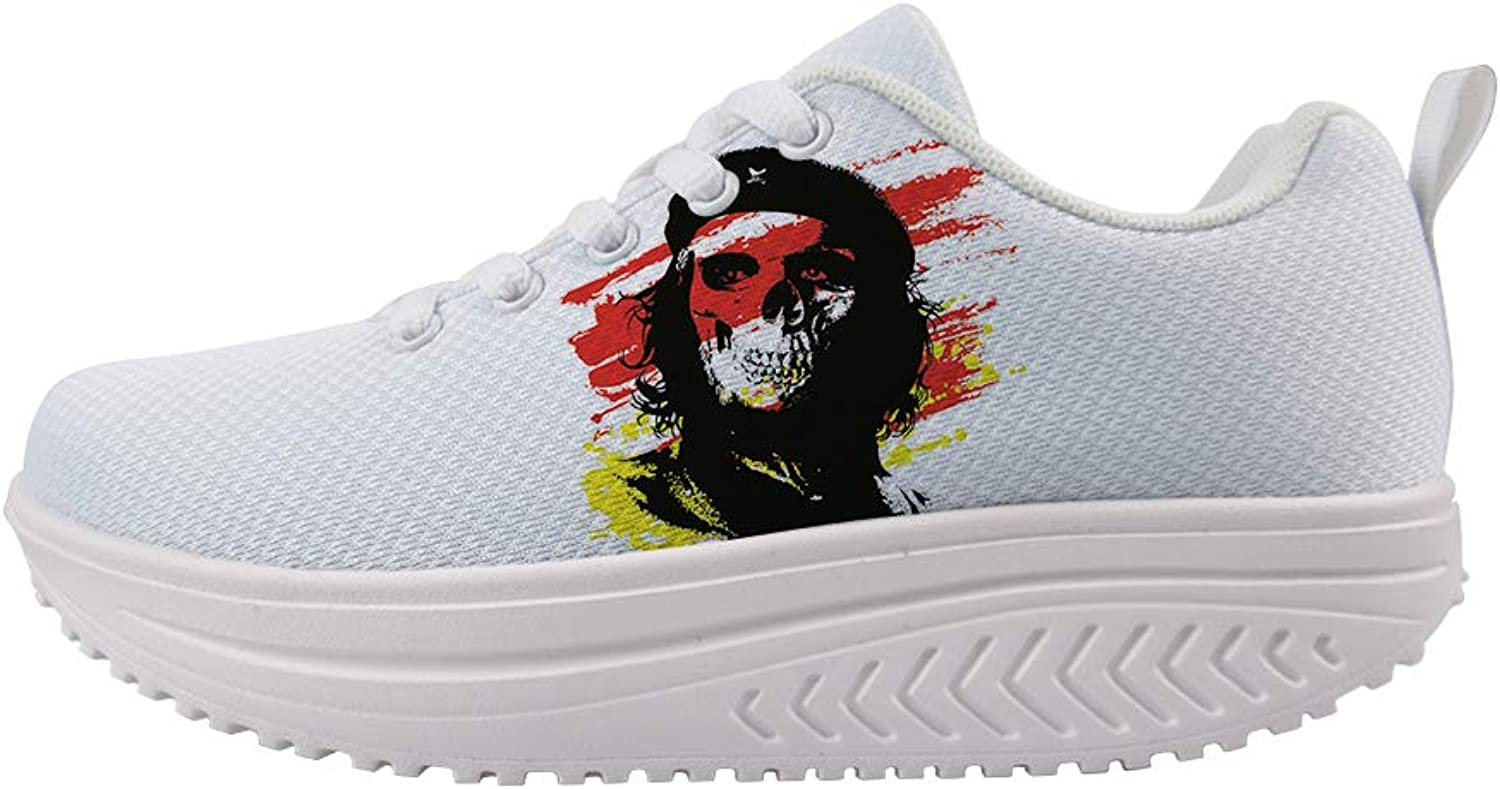 Owaheson Swing Platform Toning Fitness Casual Walking shoes Wedge Sneaker Women Skull Communist Fighter Che Guevara