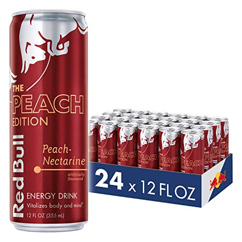 Red Bull Energy Drink, Peach-Nectarine, 12 Fl Oz (24 Count), Peach Edition