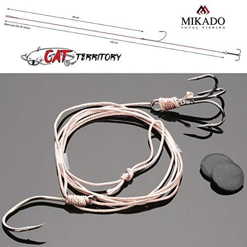 Mikado CAT Welsmontage Waller Vorfach 1,25m/Ø1,0mm mit Drilling und Einzelhaken Tragkraft ab 100kg erhältlich mit Hakengröße 2/0 und 4/0 (2/0-100kg)