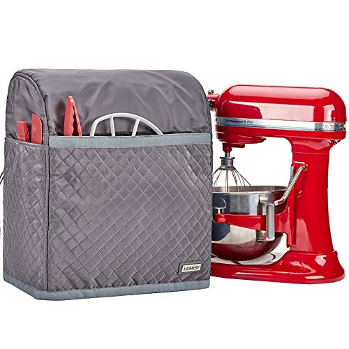 HOMEST Stand Mixer Quilted Dust Cover with Pockets Compatible with KitchenAid Bowl Lift 5-8 Quart, Grey (Patent Pending)