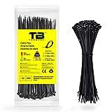 Bridas Negras, Bridas para Cables, TDEBSSY Bridas de Nylon Negras 300 mm x 4,8mm, Bridas de Nylon Negras Bridas Cables de Nylon con 23 kg de resistencia a la tracción, 100 Piezas, Negro