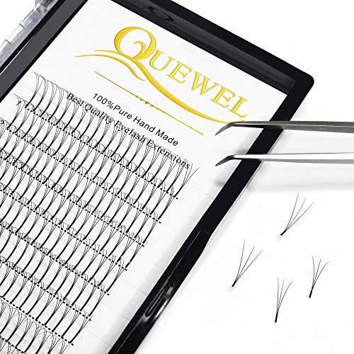 Quewel Lash Russian Volume Eyelash Extensions 3D 4D 5D 6D C D Curl 8-15mm Long Thickness 0.07/0.10 mm Premade Fans Volume Eyelashes Soft (3D-0.07-D, 9mm)