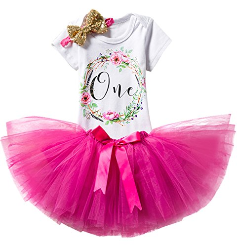 TTYAOVO Girl Skirt Newborn 3pcs Baby's 1st Birthday Set/Outfits with Romper + Tutu Dress + Headband Size 1 Years Rose(with Flower)