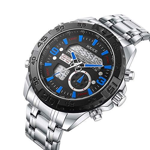Relojes para hombres, reloj de pulsera con movimiento electrónico, cronógrafo impermeable de acero inoxidable, pantalla doble impermeable para exteriores, esfera grande, cronógrafo luminoso mundial