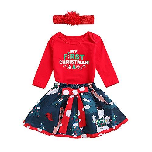 Ropa Navidad Disfraz Niña Bebe Fossen Recién Nacido Bebé my First Christmas Monos Tops + Falda Corta Patrón de Árbol de Navidad y Santa Claus + Diadema (6-12 Meses, 02)