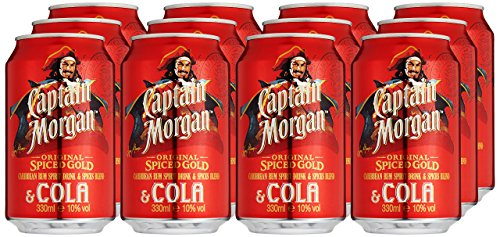 Captain Morgan Original Spiced Gold mit Cola, EINWEG (12 x 0.33 l)