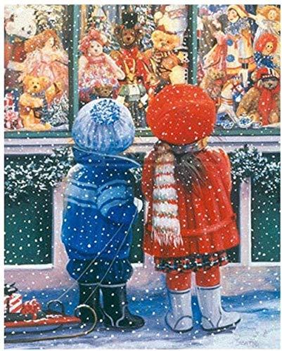 Fai da Te Bambini nella Finestra Pittura Digitale Stampa su Tela Bambini Adulti dipingono Astratti Decorazioni su Tela Ornamenti Decorati con pennelli 40x50 cm Senza Cornice