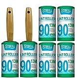 STIROLL - Rulli per peli di animali domestici, confezione extra adesiva con 2 rulli con manico in legno e 6 ricariche (90 fogli per ricarica, 540 fogli)