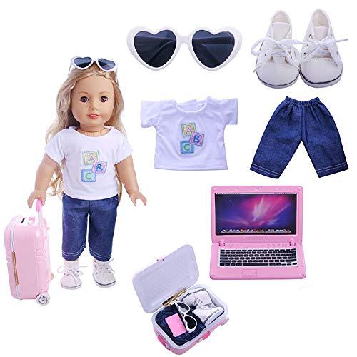 Hinleise Puppenreise-Set Koffer Gepäck für 45,7 cm American Girl Puppenzubehör – Hemd, Hose, Brille, Schuhe, Computerkoffer, 6-teiliges Set
