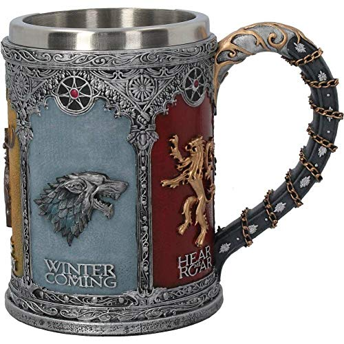 Taza Cerveza Animales Vikingos 3D para Hombres, Bebida Gótica Nórdica/Jugo Taza Café Acero Inoxidable, Decoración Vasos de Fiesta Temática Medieval,Beer mug