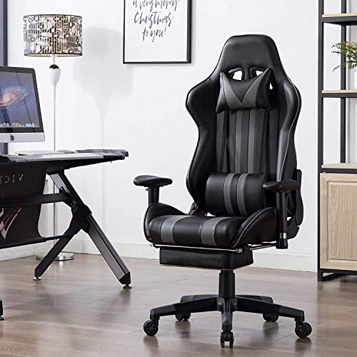 Scizor Racing Gaming Chair High Back PU Leather Task Chair Ergonomic Computer Video Office Chairs Adjustable with Footrest Lumbar (Black)