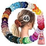 Scrunchies Terciopelo 46 Pack, Gomas de pelo scrunchies para mujeres niñas, Bandas de pelo de terciopelo elástico suave corbatas de pelo Bobbles Hair Scrunchie para coleta titular VSCO girl accesorios