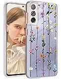 Funda para Samsung Galaxy S21, funda de silicona, transparente, diseño de flores, funda protectora para niñas, suave TPU, funda flexible resistente a los arañazos, ultra fina para Samsung S21 5G