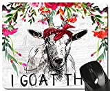 Funny Goat Mouse Pad I Goat This Red Floral Watercolor Quote Mousepad Womens Desk Accessories Office Supplies, 7.8x9.4 inch