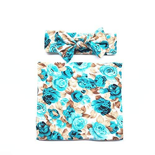 ETbotu baby geschenken, baby benodigdheden - 2 Stks Baby Aanbiddelijke Bloemen Gedrukt Swaddle+Haarband voor Festival Gift
