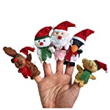 Christmas decorations,IEason 5pc Story Time Christmas Santa Claus and Friends Finger Puppets Toy (A)