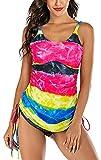 Jeatyuen Traje de baño sin mangas con protección solar UV para mujer, Colores Arcoiris, XX-Large