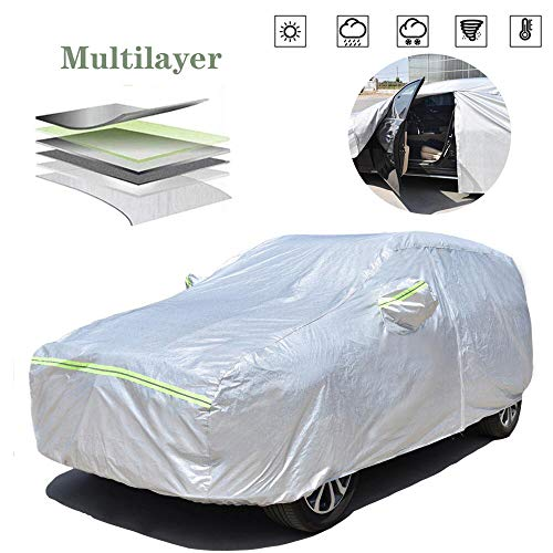 AOYMEI Full Car Cover Waterproof All Weather, Automobile Cover Sunproof Rainproof Windproof Scratch Resistant Reflective Strips Cotton Inside (SUV, fit Length (191''-201 ''))